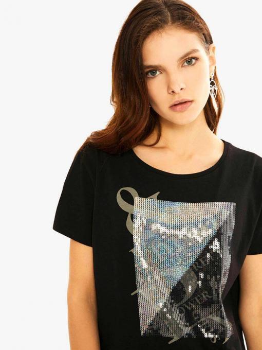 Черна дамска блуза с пайети 601591 INDIGO Fashion