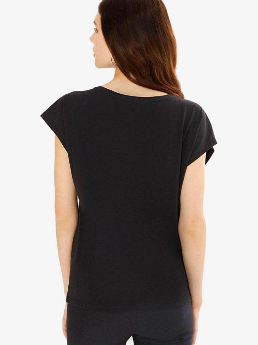 Дамска памучна блуза с надпис - черна 601594 INDIGO Fashion