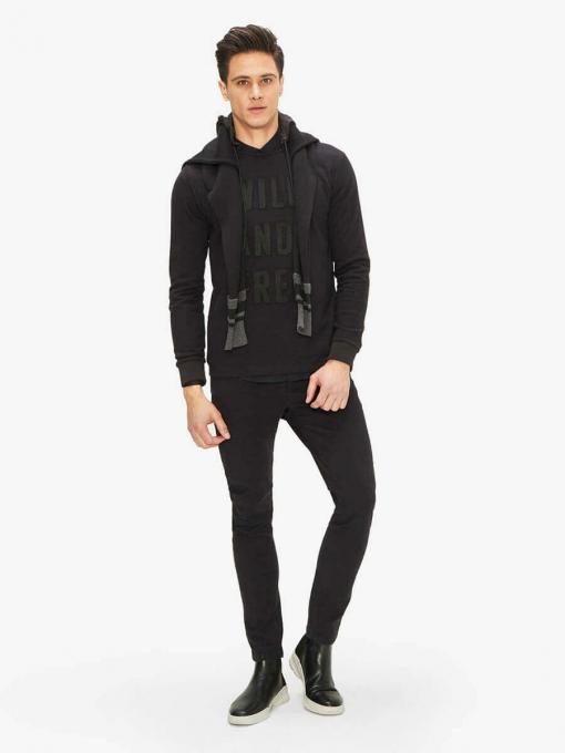 Мъжки суитчър с качулка - черен 300167 INDIGO Fashion