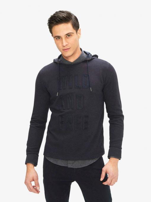 Мъжки суитчър с качулка - тъмносин 300167 INDIGO Fashion