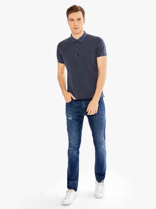 Тъмносиня мъжка блуза с яка 501519 INDIGO Fashion
