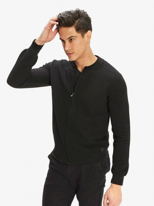 Мъжки суитчър с цип - черен 801521 INDIGO Fashion