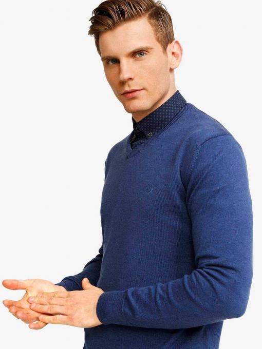Син мъжки пуловер 33004 INDIGO Fashion