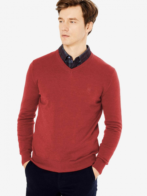Червен мъжки пуловер 33004 INDIGO Fashion