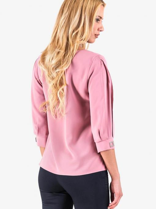 Едноцветна дамска блуза с колие - цвят пепел от рози 30480 INDIGO Fashion
