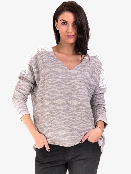 Дамска блуза с V-образно деколте XINT 145 - светло сива