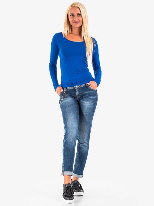 Синя дамска блуза с дълъг ръкав 14623 INDIGO Fashion