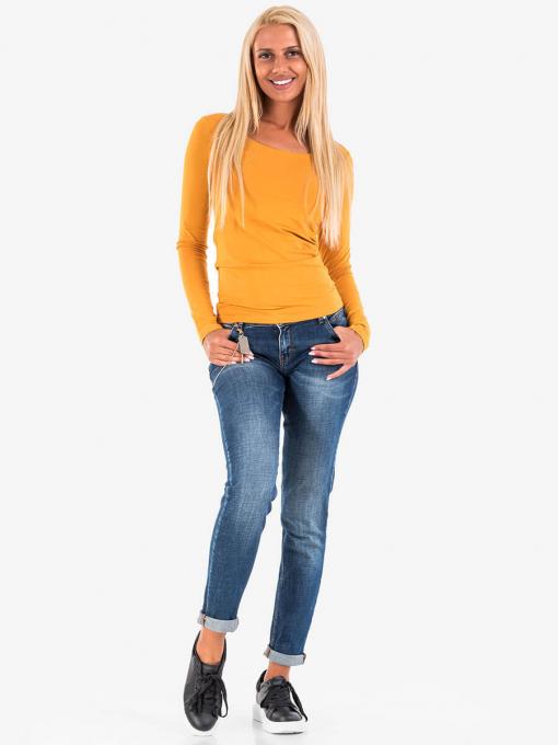 Дамска блуза с дълъг ръкав - цвят горчица 14623 INDIGO Fashion