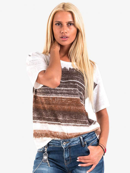 Дамса блуза на райе - екрю 601619 INDIGO Fashion