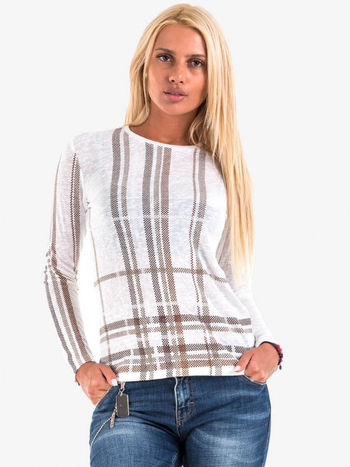Дамска блуза на едро каре - екрю 601665 INDIGO Fashion