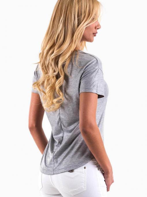 Дамска лъскава блуза с надпис - светло сива 6698 INDIGO Fashion