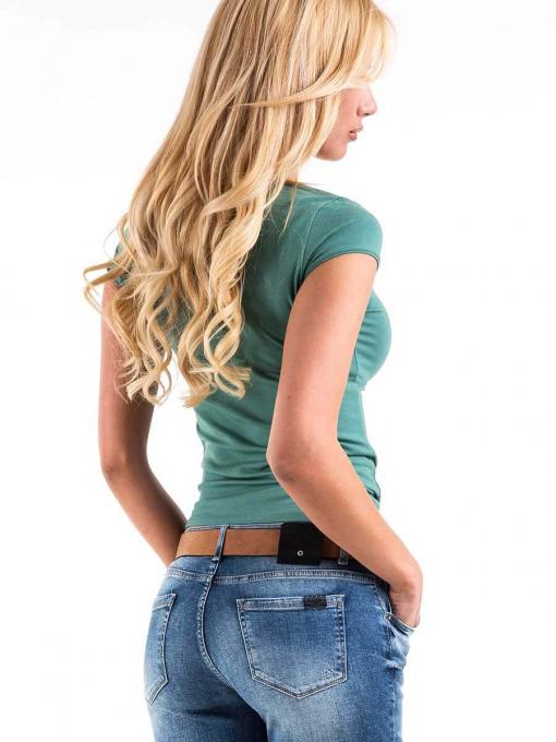 Дамска вталена блуза с овално деколте - зелена 601472 INDIGO Fashion