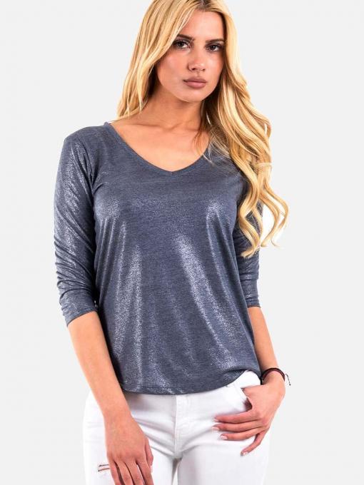 Лъскава дамска блуза - цвят син 6460 INDIGO Fashion