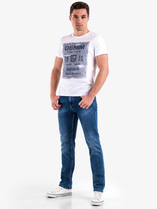 Бяла мъжка тениска с щампа 3787 INDIGO Fashion