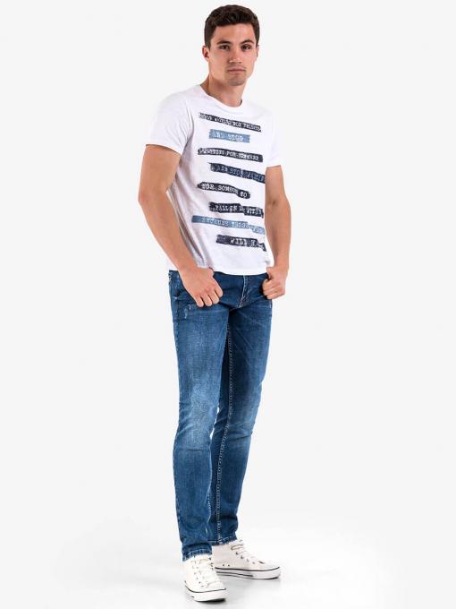 Бяла мъжка тениска с надпис 3795 INDIGO Fashion