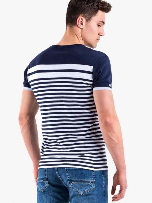 Тъмносиня мъжка тениска на райе - големи размери B29514 INDIGO Fashion