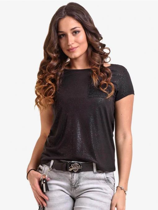 Черна лъскава дамска блуза с джоб 6341 INDIGO Fashion