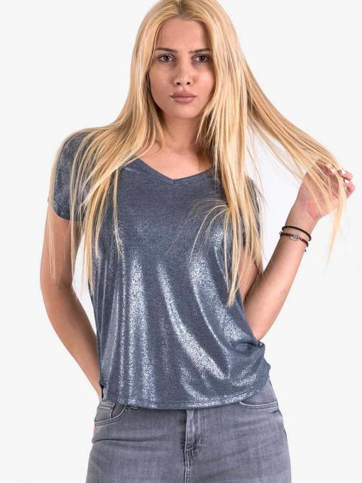 Дамска блуза с лъскава нишка - синя 6888 INDIGO Fashion