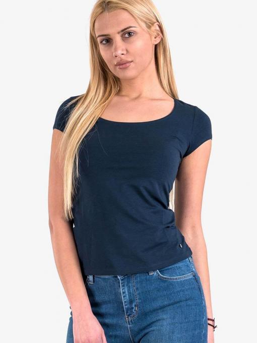 Дамска вталена блуза с овално деколте - тъмносиня 601472 INDIGO Fashion