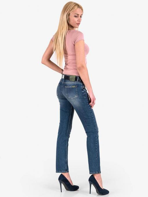 Дамска вталена блуза с овално деколте- пепел от рози 601472 INDIGO Fashion