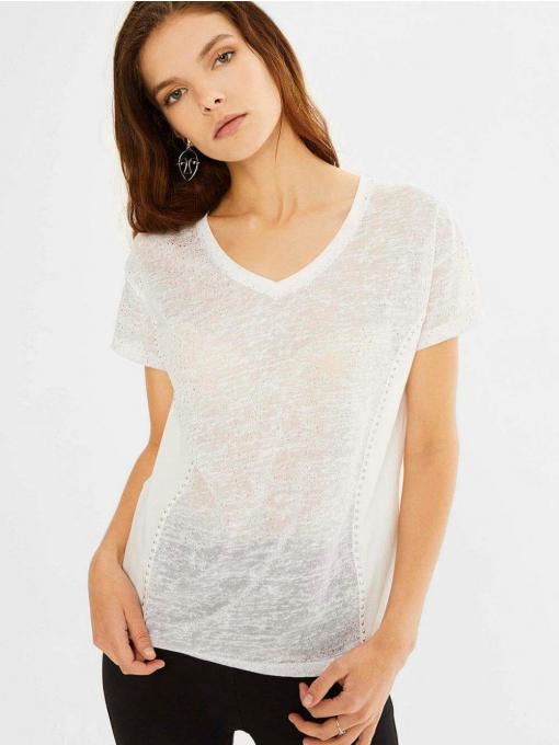 Дамска бяла блуза с къс ръкав 601505 INDIGO Fashion