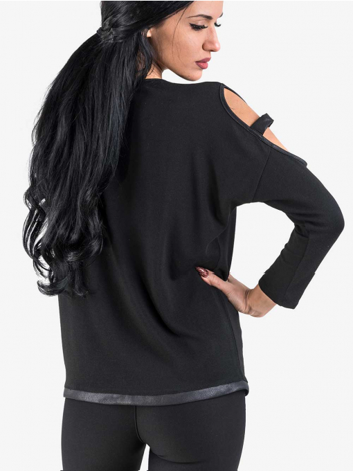 Черна дамска блуза с изрязан ръкав 1083 INDIGO Fashion