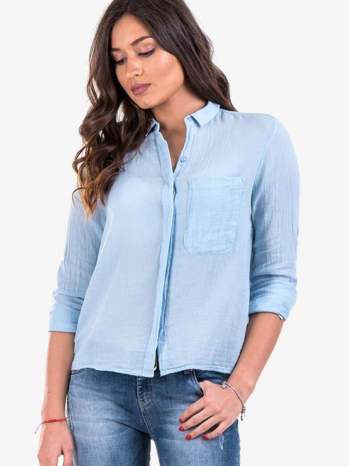 Светлосиня дамска риза с дълъг ръкав 2901 INDIGO Fashion