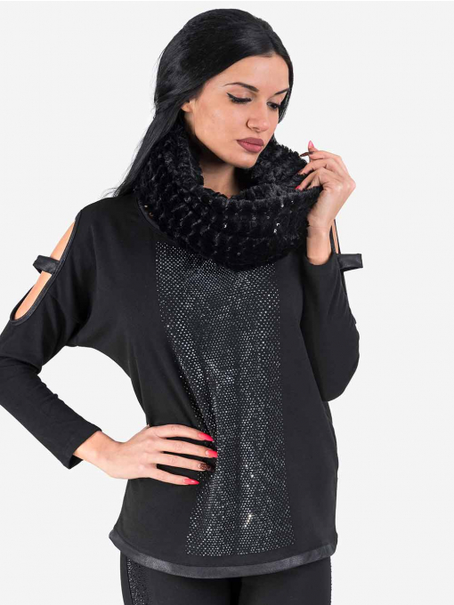 Дамска кръгла шал яка с пайети 11482 INDIGO Fashion