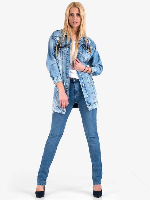 Дамско дънково яке с принт на гърба 38511 INDIGO Fashion