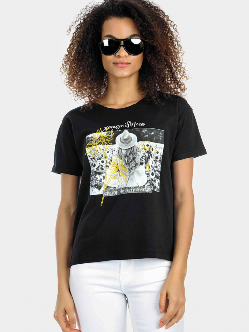 Черна дамска тениска 7116 INDIGO Fashion
