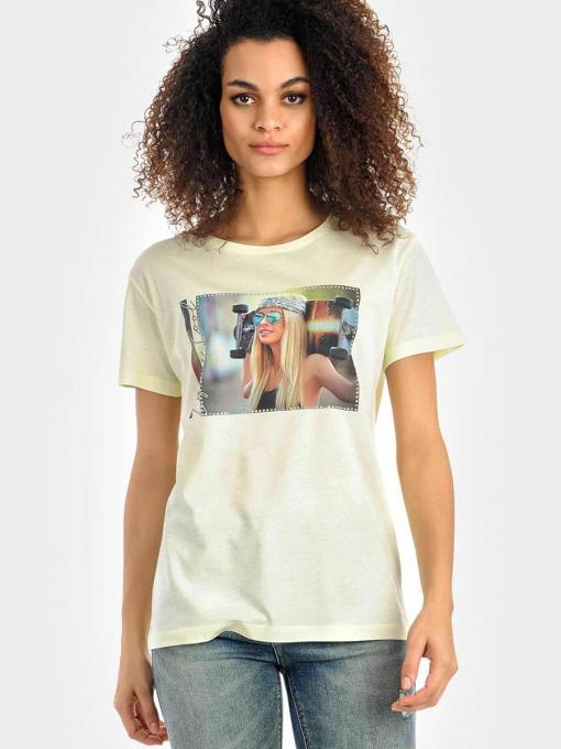 Жълта дамска тениска 7121 INDIGO Fashion