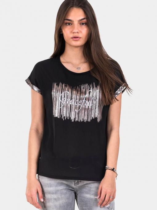Черна дамска блуза 7183 INDIGO Fashion