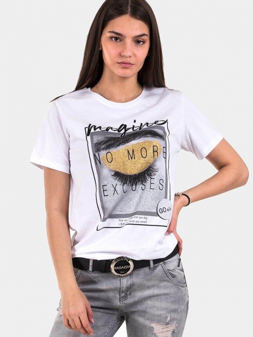 Бяла памучна тениска 7200 INDIGO Fashion