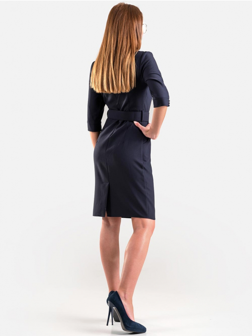 Елегантна рокля с колан в тъмно синьо 17160 INDIGO Fashion