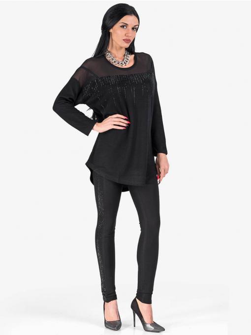 Дамски  черен слим фит панталон с лъскав кант и колан 1113 INDIGO Fashion