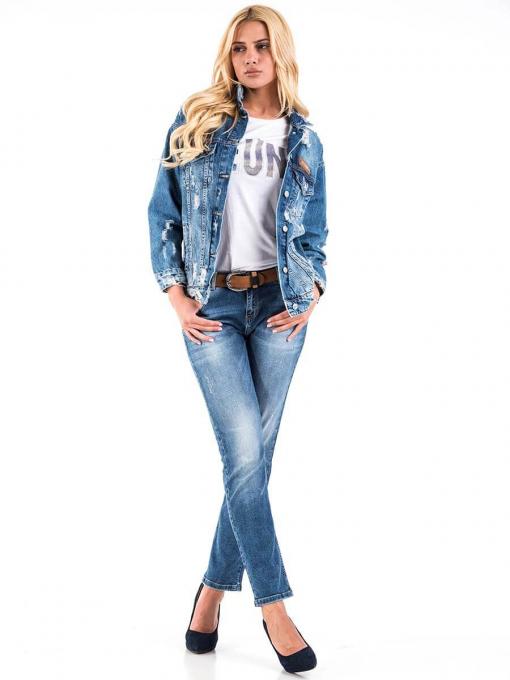 Дамско дънково яке с накъсване 38515 INDIGO Fashion