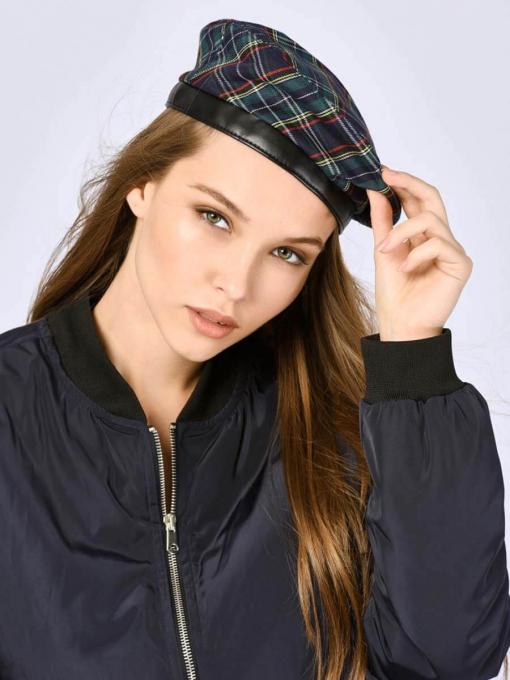 Дамска шапка тип барета - карирана 11273 INDIGO Fashion