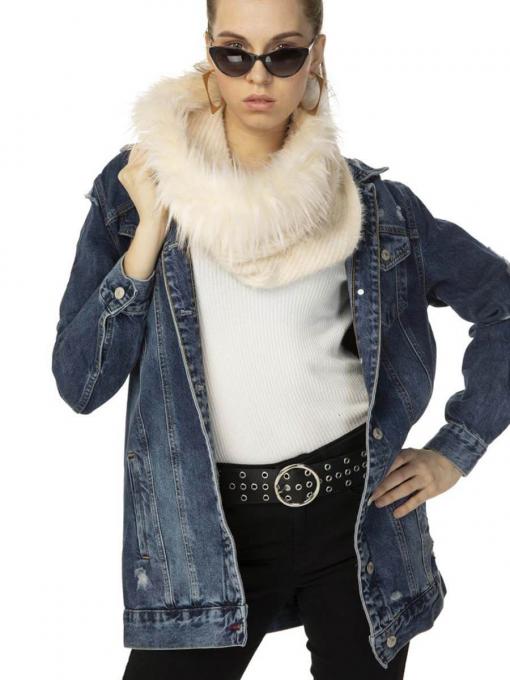 Дамска шал-яка с еко косъм - екрю 11170 INDIGO Fashion