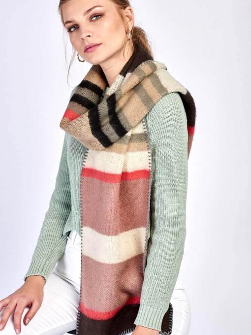 Плетен дамски шал - розов 9300 INDIGO Fashion