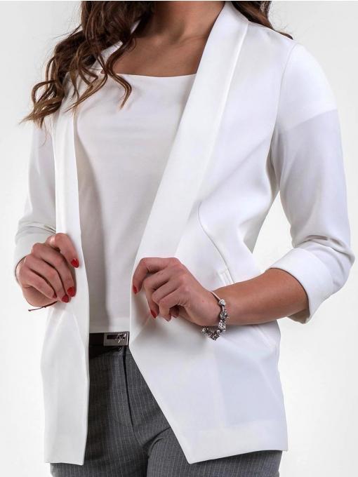 Елегантно дамско сако без закопчаване - бяло 1185 INDIGO Fashion