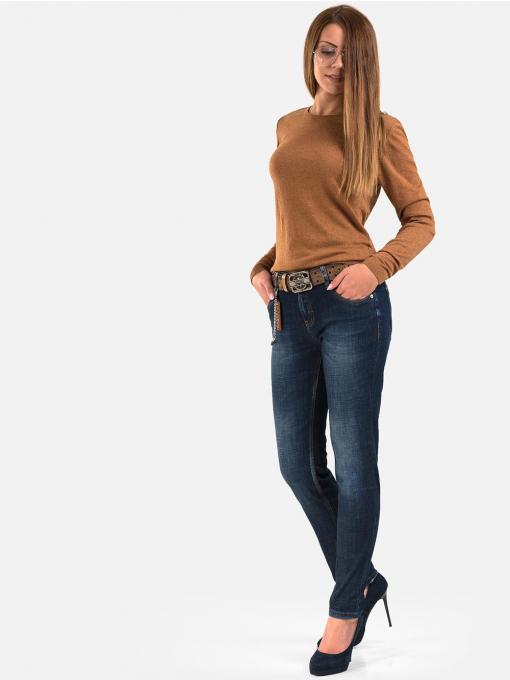 Дамски дънки бойфренд модел с кафяв колан и верижка 5604А INDIGO Fashion