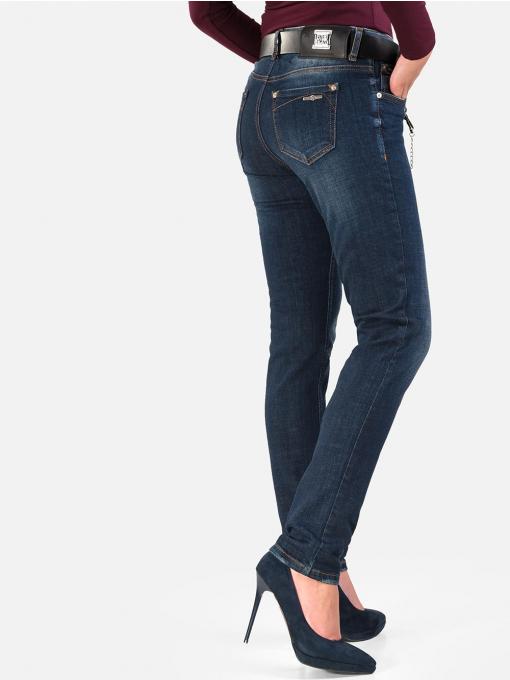 Дамски бойфренд дънки с аксесоар и колан в тъмен деним 5624 INDIGO Fashion