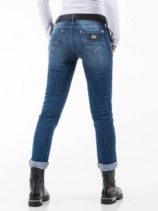 Дамски бойфренд дънки с черен колан INDIGO Fashion