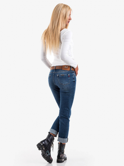Дамски бойфренд дънки с избелване 5888 INDIGO Fashion