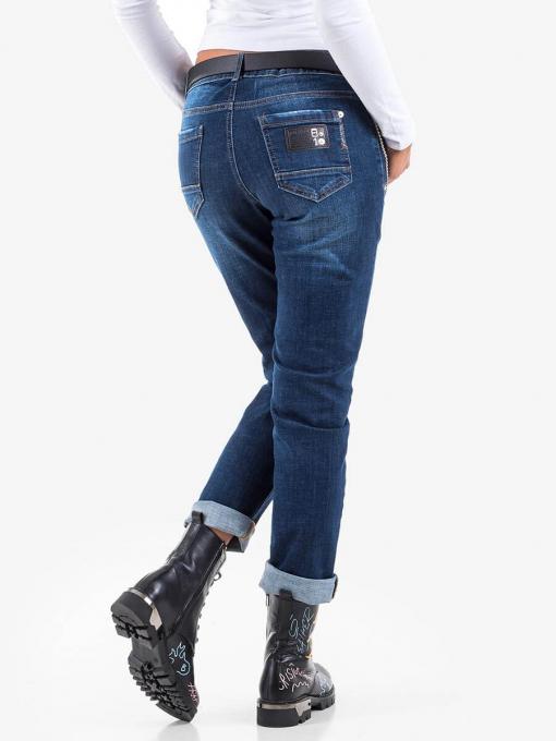 Тъмни бойфренд дамски дънки с верига B5449 INDIGO Fashion