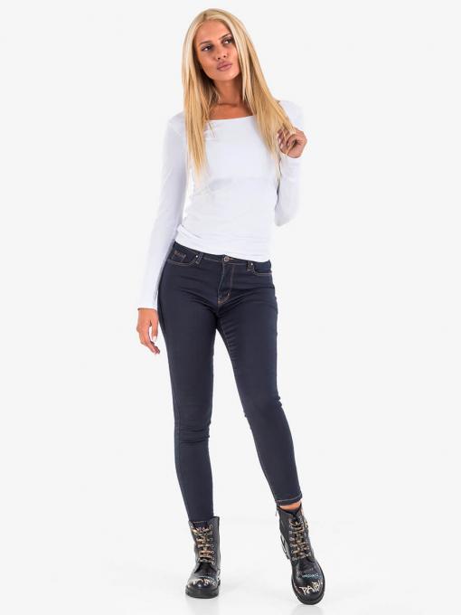Бяла дамска блуза с дълъг ръкав 14623 INDIGO Fashion