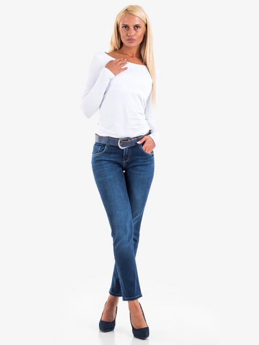 Дамски бойфренд дънки със син колан 5143 INDIGO Fashion