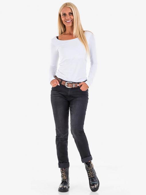 Черни прави дамски дънки с колан 4002 INDIGO Fashion