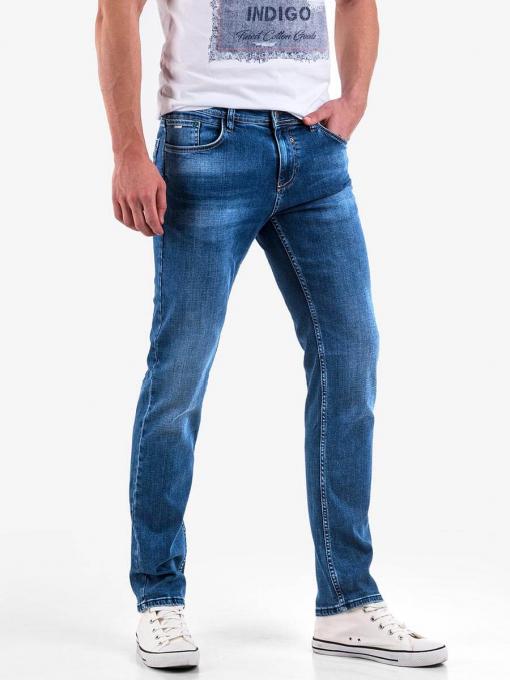 Мъжки прави дънки в цвят деним 5182 INDIGO Fashion