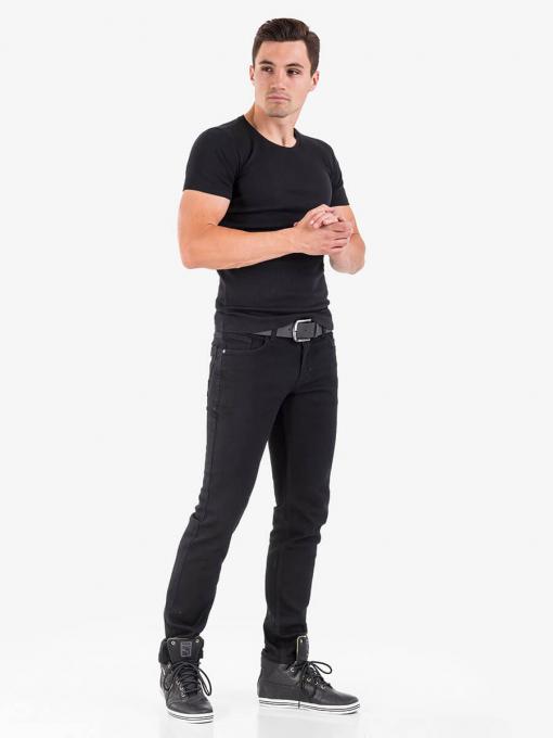 Мъжка тениска от фин рипс - черна 501368 INDIGO Fashion